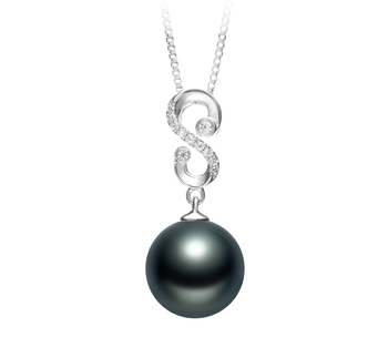 10-11mm AAA Quality Tahitian Cultured Pearl Pendant in Virginia Black