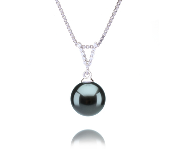 9-10mm AAA Quality Tahitian Cultured Pearl Pendant in Vondra Black