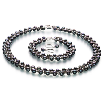 Weave Black 6-7mm A Quality Freshwater Pearl Set