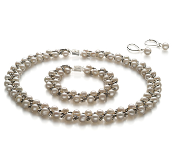 Weave White 6-7mm A Quality Freshwater Pearl Set