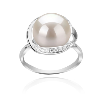 11-12mm AAA Quality Freshwater Cultured Pearl Ring in Wendy White