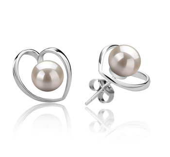 6-7mm AAAA Quality Freshwater Cultured Pearl Earring Pair in Winna-Heart White