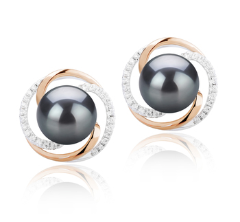 8-9mm AAAA Quality Freshwater Cultured Pearl Earring Pair in Zina Black