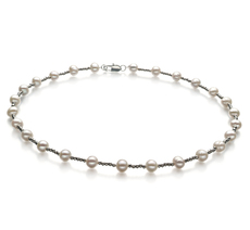 6-7mm A Quality Freshwater Cultured Pearl Necklace in Atina White