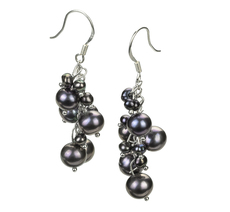 3-7mm A Quality Freshwater Cultured Pearl Earring Pair in Brisa Black