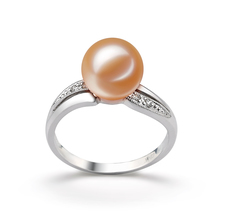 Caroline Pink 9-10mm AAAA Quality Freshwater 14K White Gold Cultured Pearl Ring