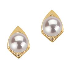 7-8mm AAA Quality Japanese Akoya Cultured Pearl Earring Pair in Catrina White