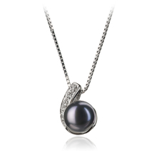 7-8mm AA Quality Freshwater Cultured Pearl Pendant in Claudia Black