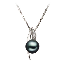 7-8mm AA Quality Japanese Akoya Cultured Pearl Pendant in Destina Black