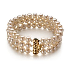 6-7mm AA Quality Freshwater Cultured Pearl Bracelet in Dianna Collection - Triple Strand White