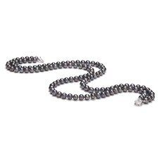 6-7mm AA Quality Freshwater Cultured Pearl Necklace in Double Strand Black