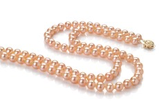 6-7mm AAA Quality Freshwater Cultured Pearl Necklace in Double Strand Pink