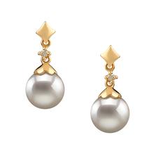 Georgia White 7-8mm AA Quality Japanese Akoya 14K Yellow Gold Pearl Earring Pair Pearl Earring Set