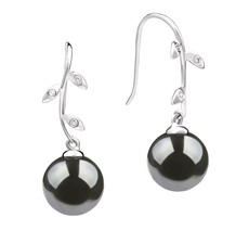 Honora Black 9-10mm AAA Quality Tahitian 14K White Gold Pearl Earring Pair Pearl Earring Set