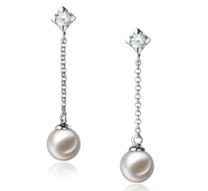 6-7mm AAAA Quality Freshwater Cultured Pearl Earring Pair in Ingrid White
