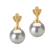 10-11mm AAA Quality South Sea Cultured Pearl Earring Pair in Ivana White