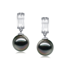 9-10mm AAA Quality Tahitian Cultured Pearl Earring Pair in Kiyam Black