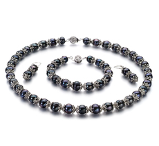 8-9mm AA Quality Freshwater Cultured Pearl Set in MarieAnt Black