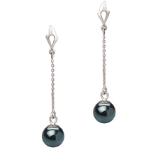 Misha Black 6-7mm AA Quality Japanese Akoya 14K White Gold Pearl Earring Pair Pearl Earring Set