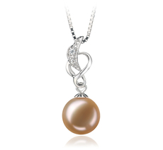 9-10mm AA Quality Freshwater Cultured Pearl Pendant in Naomi Pink
