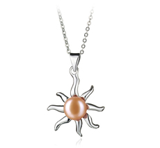 PearlsOnly - Nina Pink 7-8mm AA Quality Freshwater White Bronze Cultured Pearl Pendant