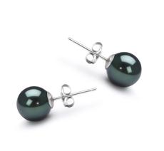 7-8mm AA Quality Japanese Akoya Cultured Pearl Earring Pair in Black