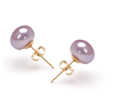 7-8mm AAA Quality Freshwater Cultured Pearl Earring Pair in Lavender