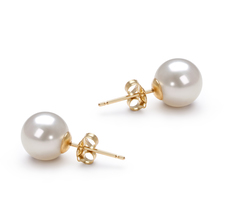 7-8mm AAAA Quality Freshwater Cultured Pearl Earring Pair in White