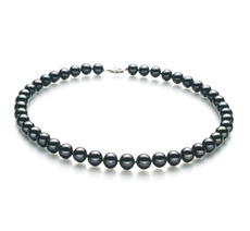 Black 8.5-9mm AA Quality Freshwater 925 Sterling Silver Cultured Pearl Necklace