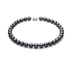 11.1-12.9mm AAA Quality Tahitian Cultured Pearl Necklace in Black