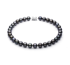 Black 12-12.89mm AAA Quality Tahitian 14K White Gold Pearl Necklace