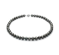 Black 8-10mm AA+ Quality Tahitian 14K White Gold Pearl Necklace