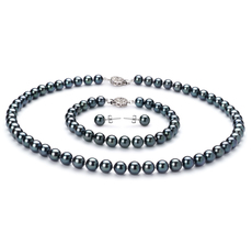 6.5-7mm AA Quality Japanese Akoya Cultured Pearl Set in Black
