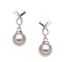6-7mm AA Quality Japanese Akoya Cultured Pearl Earring Pair in Riley White