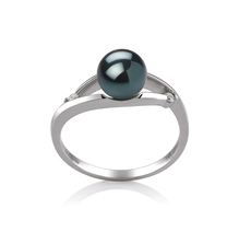 6-7mm AA Quality Japanese Akoya Cultured Pearl Ring in Tanya Black